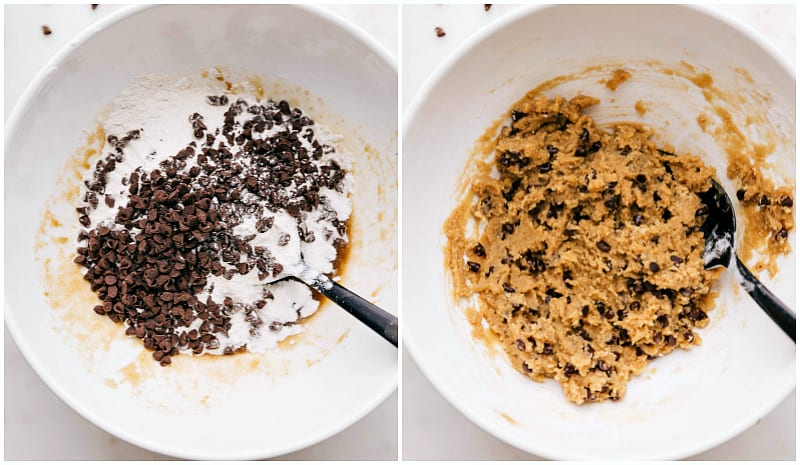 Process shots of adding toasted flour and chocolate chips into the edible cookie dough and mixing together
