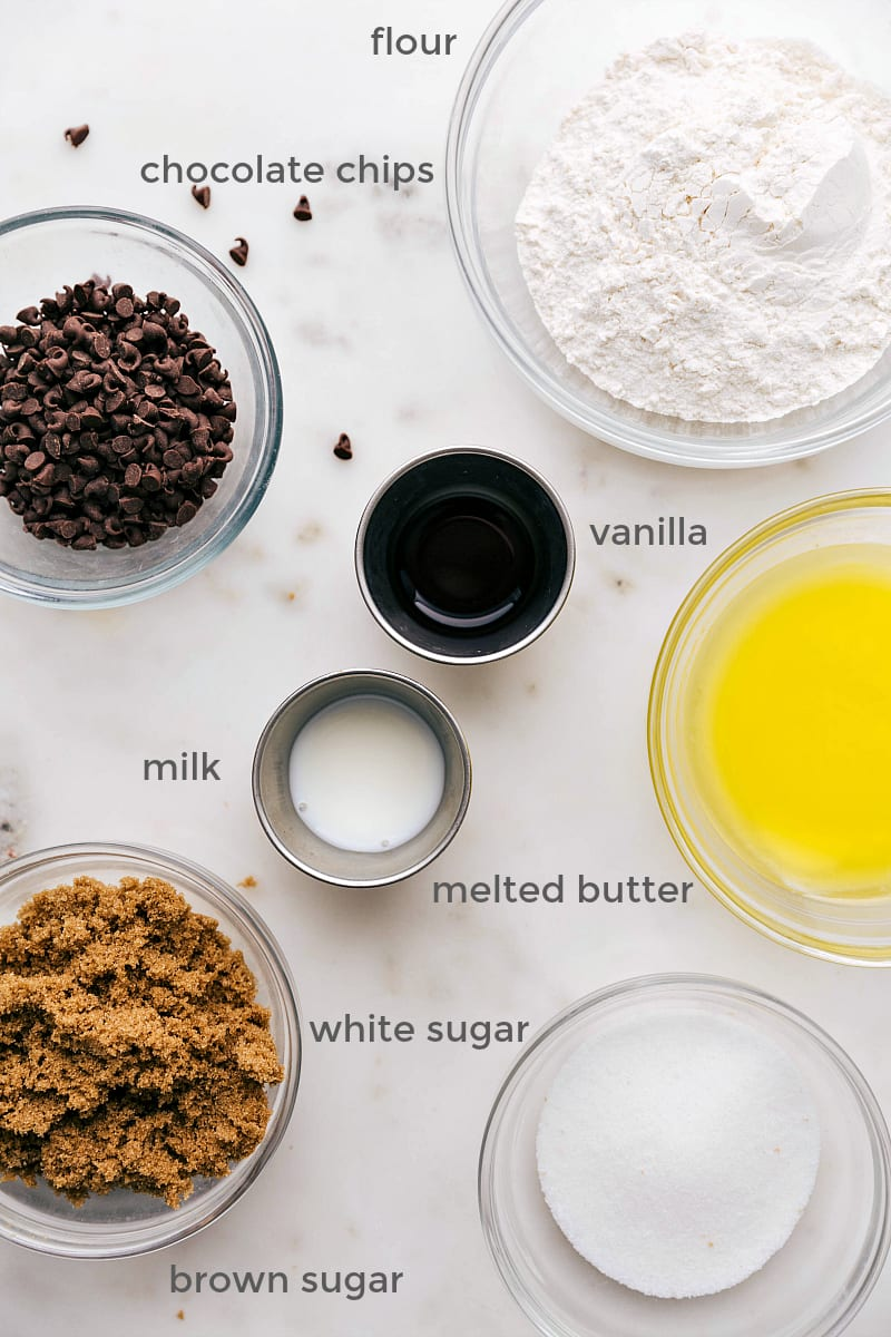Overhead ingredient shot for edible cookie dough