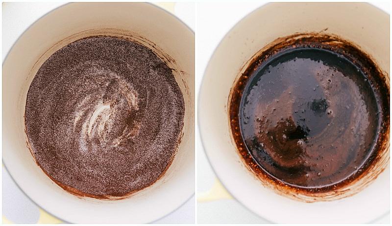 Process shots: Cocoa and sugar; mixed with water