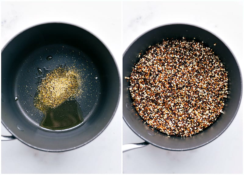 Oil, seasonings, and quinoa in a pot