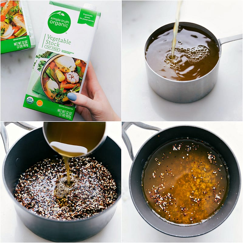 Adding vegetable stock to a pot to boil quinoa in