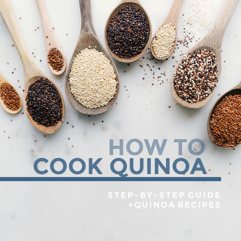 "How to cook quinoa guide: photo shows wooden spoons filled with different varieties of quinoa with text ""How To Cook Quinoa : step-by-step guide + quinoa recipes"""