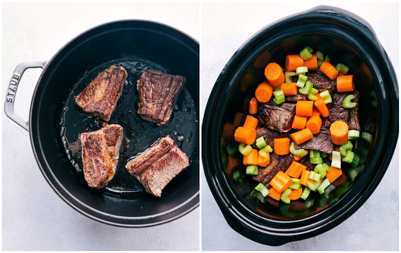 Process photo of seared short ribs and then short ribs are added to crockpot with vegetables