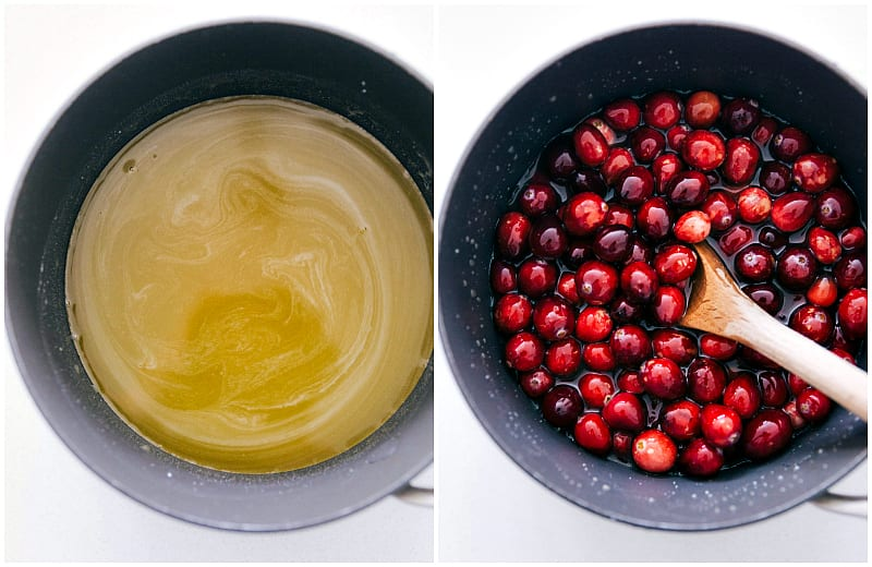 Process shots showing the cranberries being added to the orange juice mixture