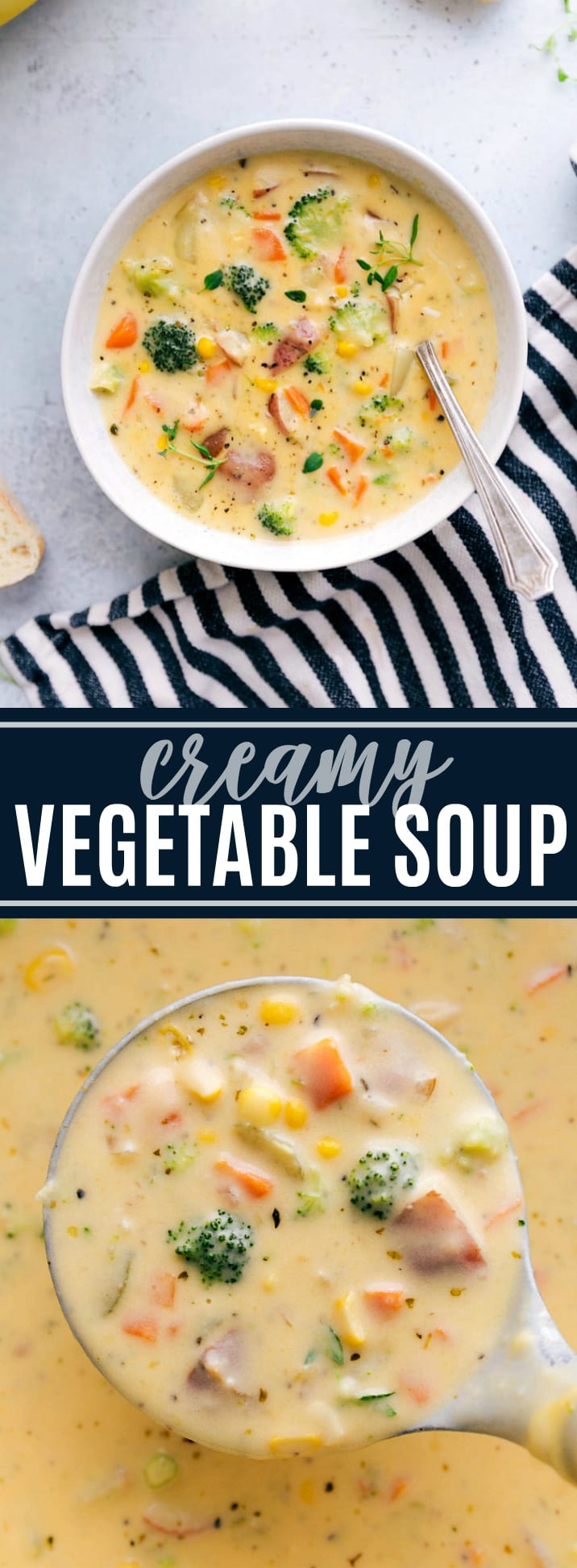 A delicious and easy-to-make creamy vegetable soup packed with veggies and healthy ingredients. via chelseasmessyapron.com #stovetop #easy #creamy #vegetable #soup #quick #simple #cheese #broccoli #corn #recipe #kidfriendly #dinner #meal