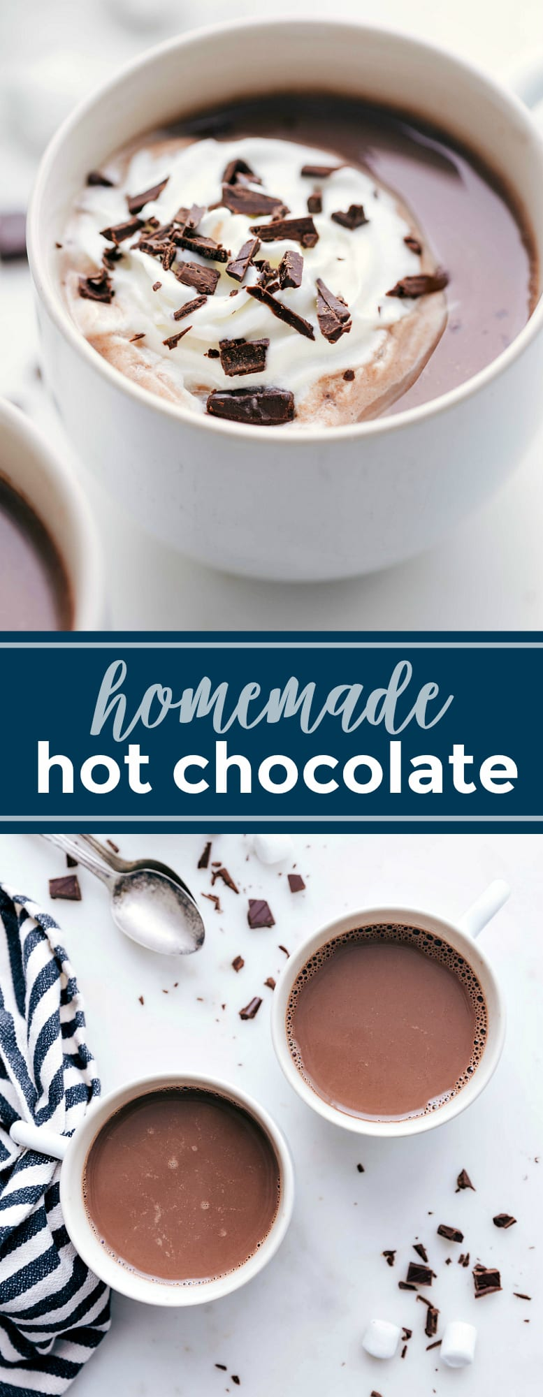 Creamy, dreamy hot chocolate -- you'll never go back to buying mixes or packets after trying this recipe and seeing how simple it is to make! via chelseasmessyapron.com #homemade #hot #chocolate #cocoa #hotcocoa #whipped #cream #kidfriendly #easy #quick #christmas #recipe #holiday #holidays