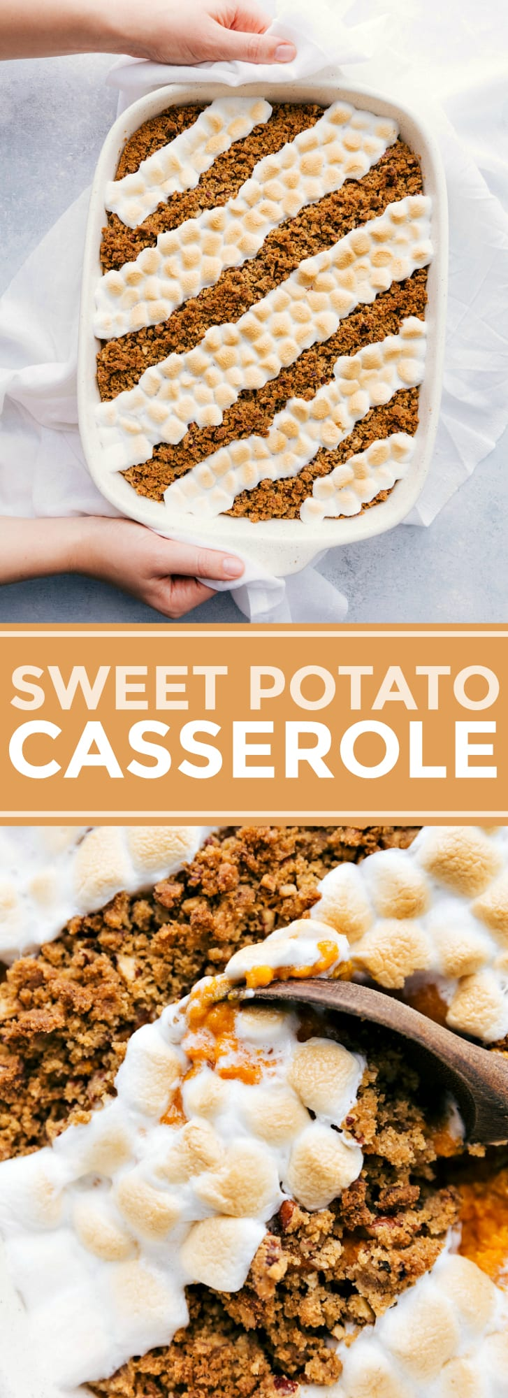 The classic sweet potato casserole with a crunchy brown sugar pecan topping AND melty marshmallows is a must have for the holidays. via chelseasmessyapron.com #sweet #potato #casserole #holidays #dinner #side #dish #marshmallow #pecan #topping #best #easy