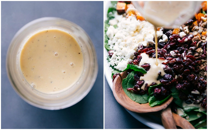 Process shots-- images of the dressing in a mason jar and it being poured over the salad