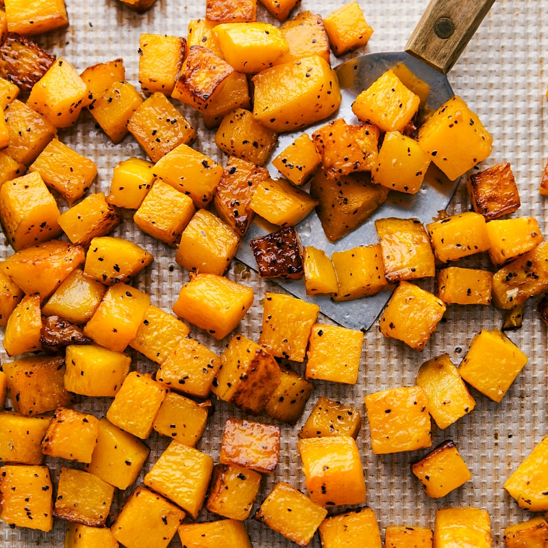 Overhead image of the roasted butternut squash fresh out of the oven