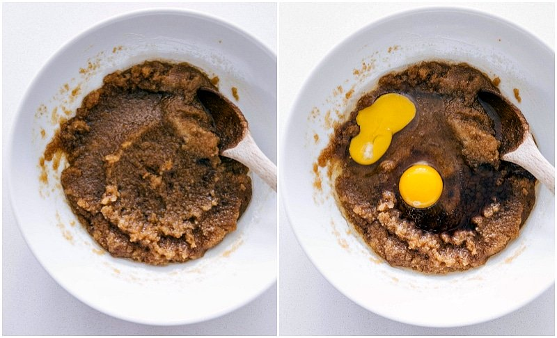 Process shots-- images of eggs being added to the butter and sugar mixture