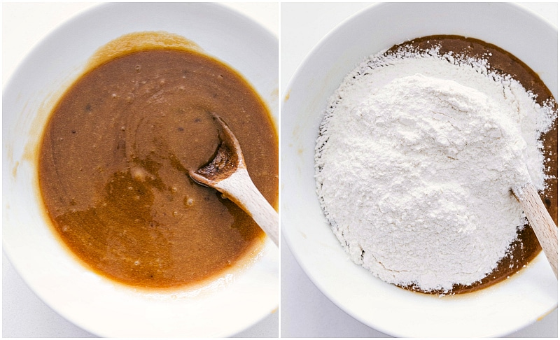Images of the dough being made and showing the flour being added