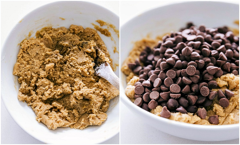 Image of the cookie dough and chocolate chips being added to it