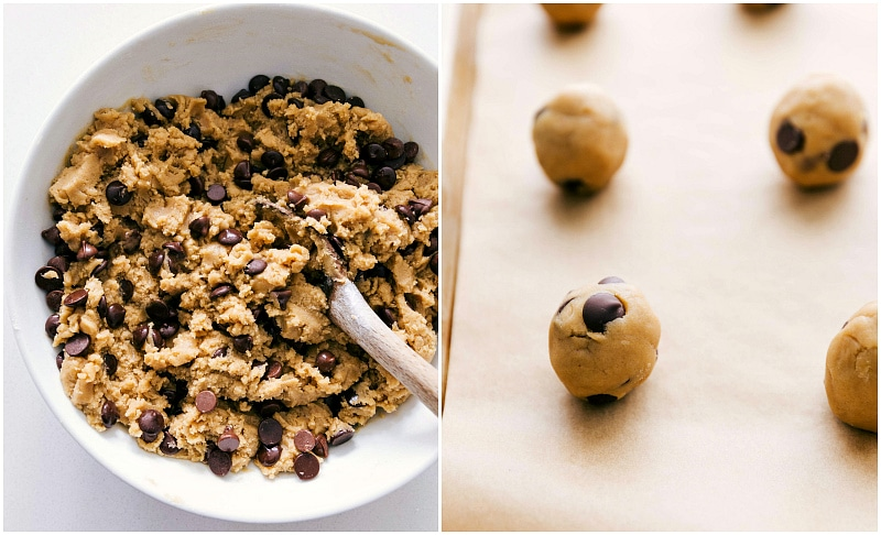 Coconut Oil Chocolate Chip Cookie dough in a bowl and then rolled into balls for baking