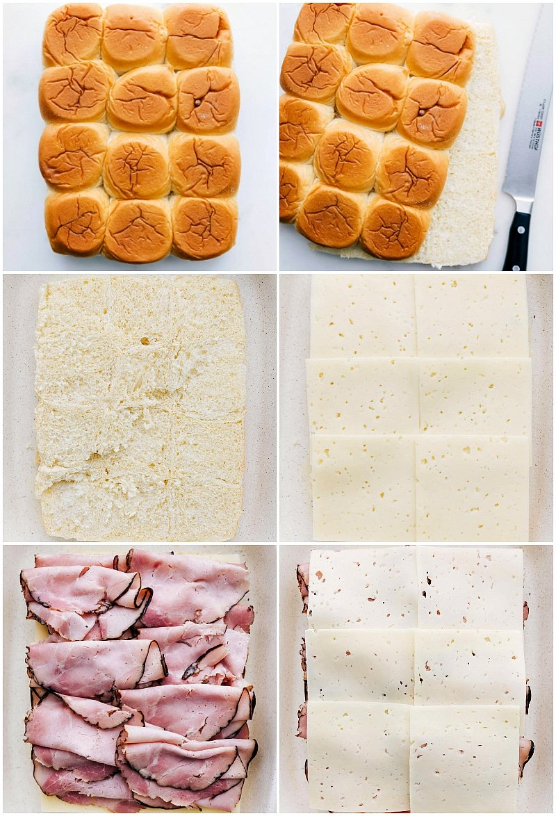 Step by step process shots making ham and cheese sliders -- adding cheese and ham to rolls