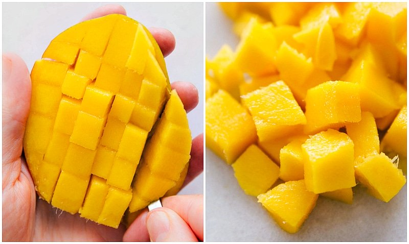 Image of a spoon scooping out the diced mangos