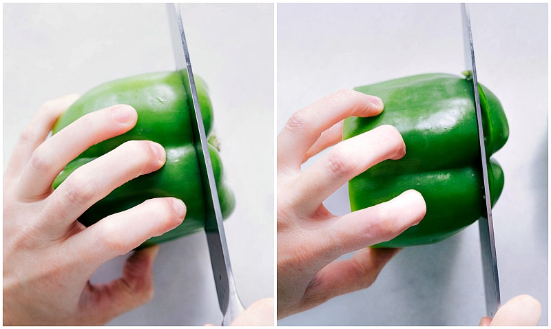 Overhead image of how to cut up a bell pepper.