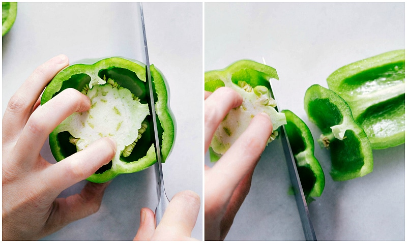 Overhead image of how to slice bell peppers.