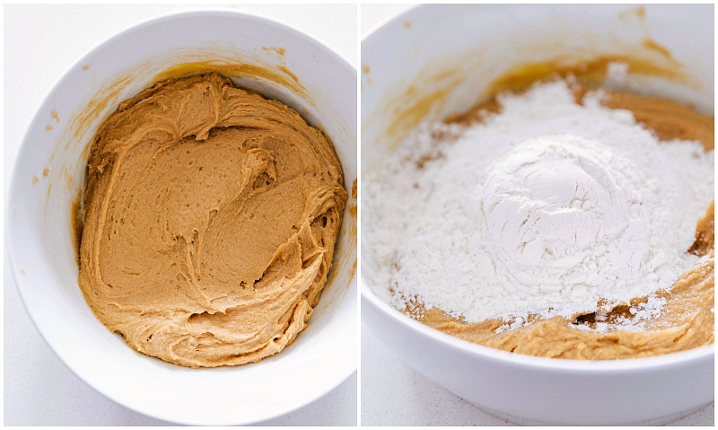 Images of the batter being made and the flour being added to it