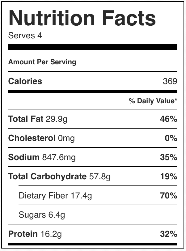 Image of the calories in healthy tacos.