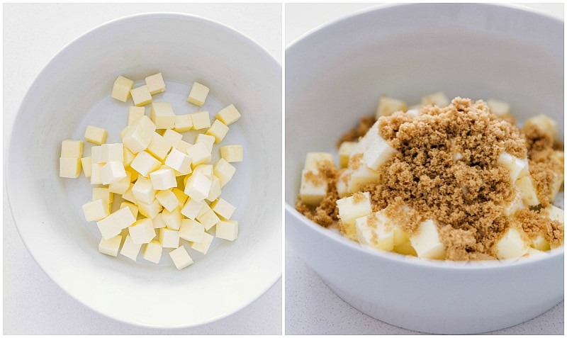 Process shots: combining brown sugar with the cubed butter