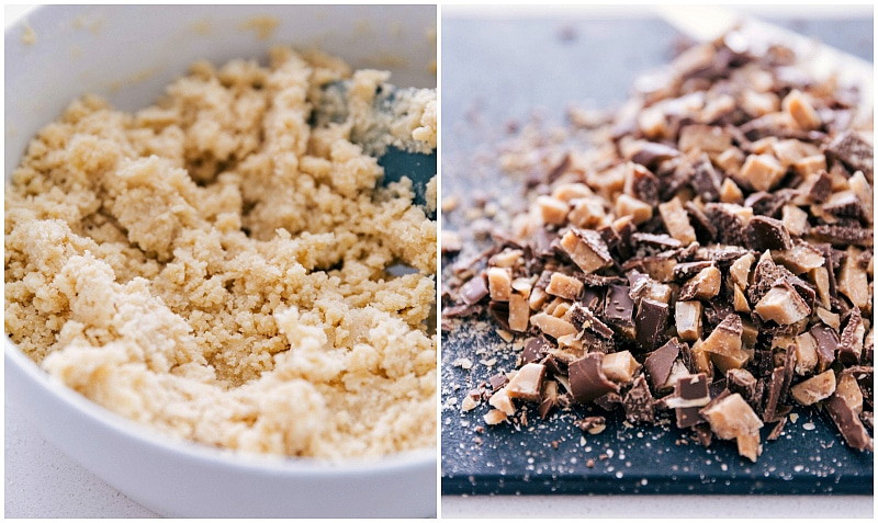 Chopped toffee candy for the cookie dough