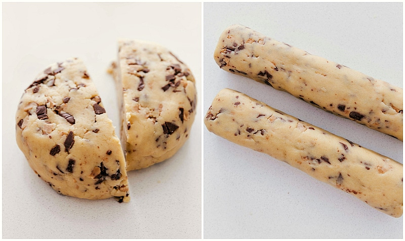Toffee Shortbread Cookie dough rolled into cylinders