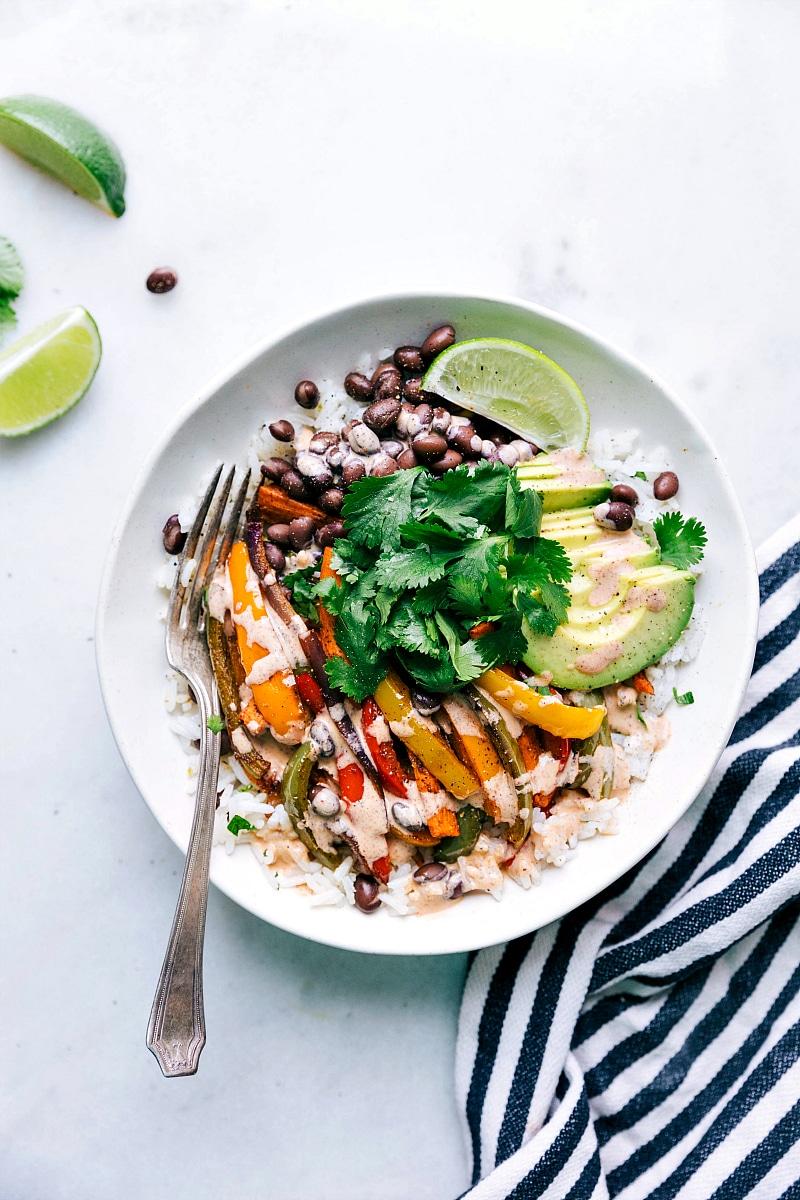 Vegetarian Fajitas in a bowl