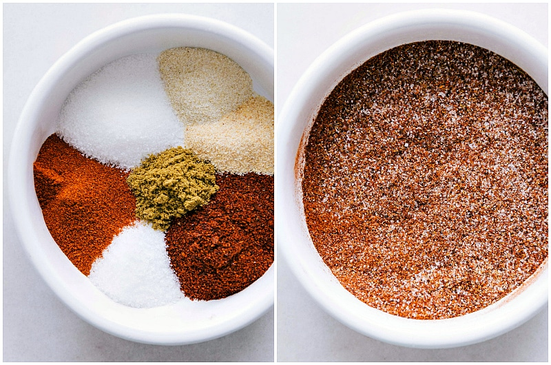 Overhead image of all the seasonings that are in the vegetarian fajitas.