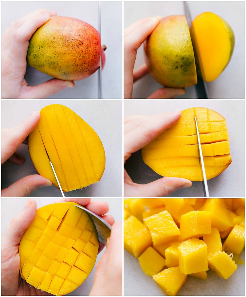 Overhead image of us showing how to cut a mango.