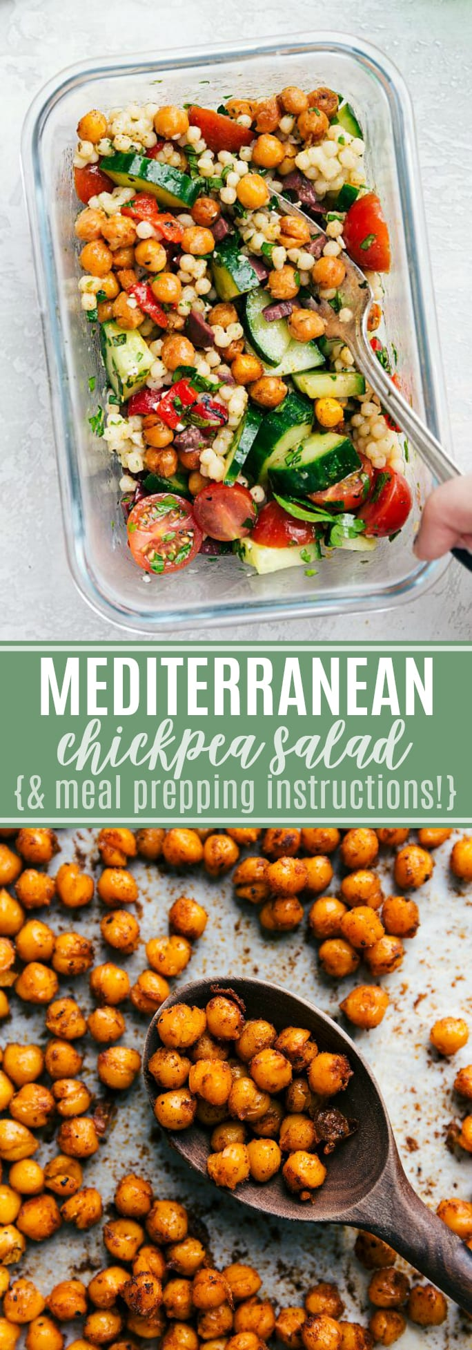 This chickpea salad is so flavorful, made with good-for-you ingredients, & easy to prepare! PLUS meal prepping instructions! via chelseasmessyapron.com #chickpea #salad #mediterranean #easy #quick #meal #prep #healthy #recipe #kidfriendly #couscous #fresh