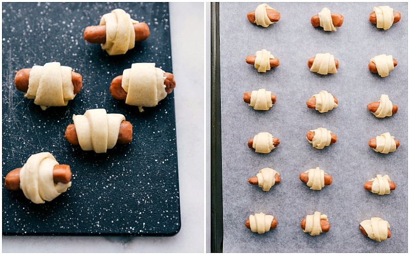 Process shots:  Sausages wrapped up in the dough and placed on a tray to make Pigs in a Blanket.