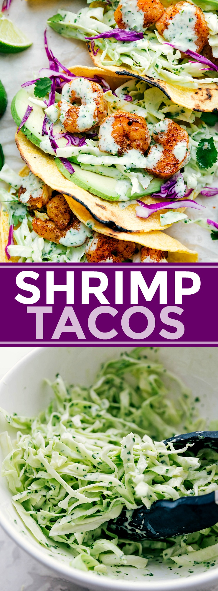 Perfectly seasoned shrimp with cilantro-lime slaw and fresh avocado all packed in a tortilla. These shrimp tacos can be ready in 30 minutes or less! (Plus, prep ahead tips!) via chelseasmessyapron.com #shrimp #taco #easy #quick #healthy #fast #recipe #meal #cilantro #lime #avocado #guacamole #tacos