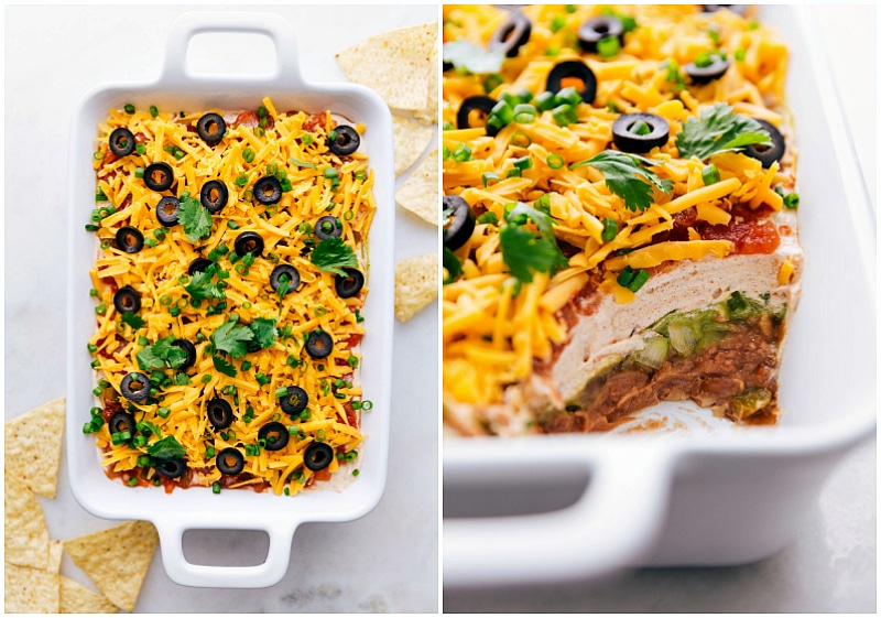 Overhead view of the 7-Layer Bean Dip, and a close-up view showing a side view of all the layers.