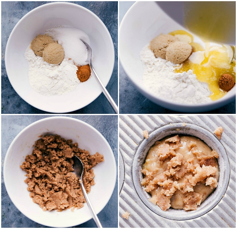 Process shots of Banana Crumb Muffins: the dry ingredients; the wet and dry ingredients mixed; the crumb topping being made; crumb topping added to the top of the muffin batter.