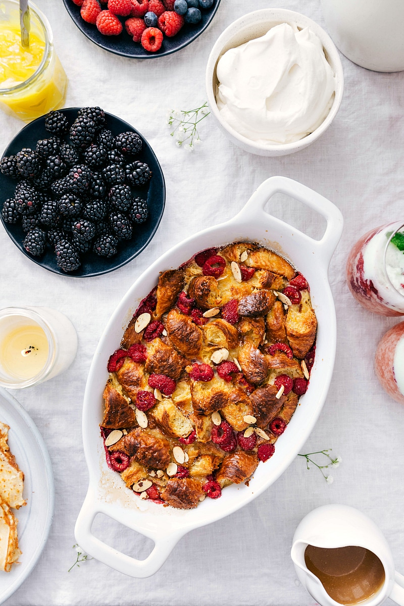 Overhead image of the bread pudding recipe with all the topping options.