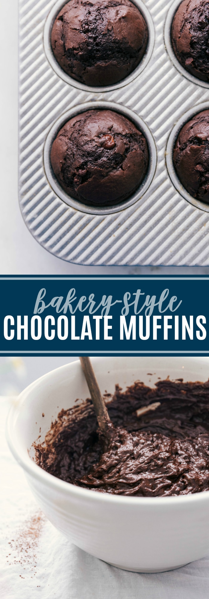 These Chocolate Muffins are a tried and tested bakery-style recipe! Learn the tricks to moist, delicious, and flavorful chocolate muffins. via chelseasmessyapron.com #chocolate #muffins #easy #quick #muffin #kidfriendly #best #recipe #bakery #style #chocolates #chips #breakfast #brunch #dessert #snack #treat