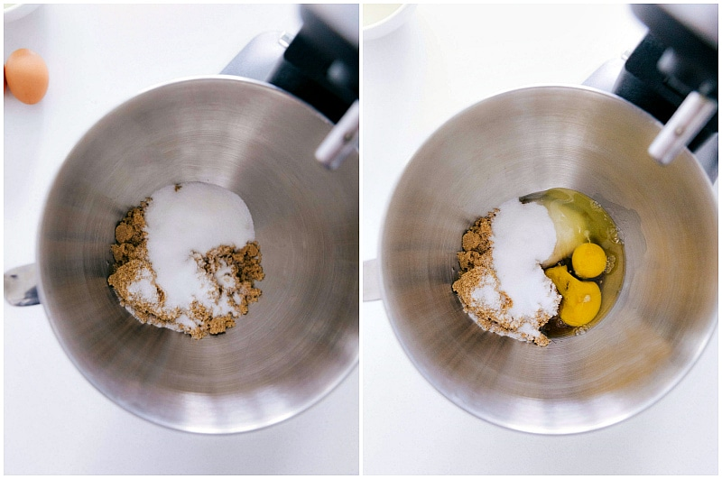 Overhead image of the wet ingredients being mixed for this banana bread recipe.