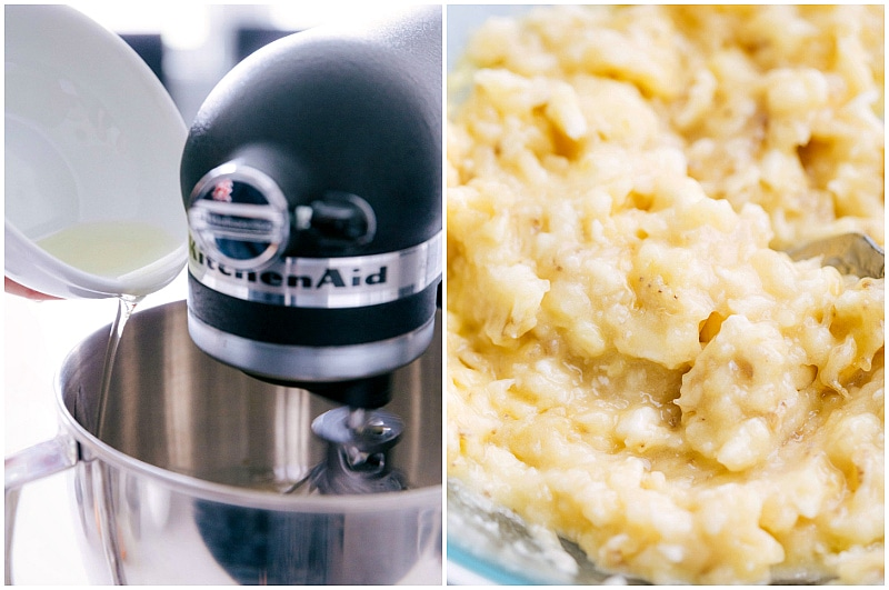 Image of the oil being added to the wet ingredients and the mashed bananas for this easy banana bread recipe.