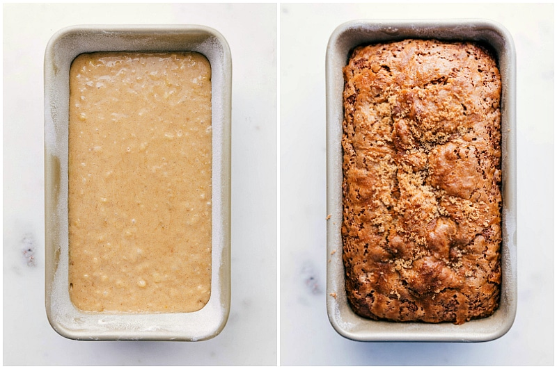 Overhead image of this easy banana bread dough being added to the bread pan. And overhead image of the baked banana bread.