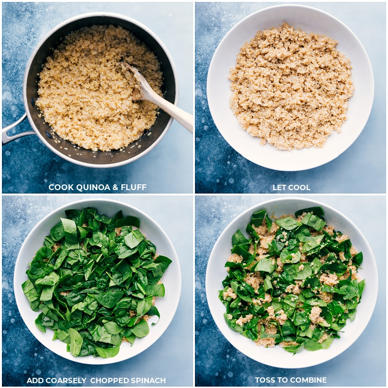 Process shots-- cook and fluff the quinoa; let it cool; add spinach; toss to combine.