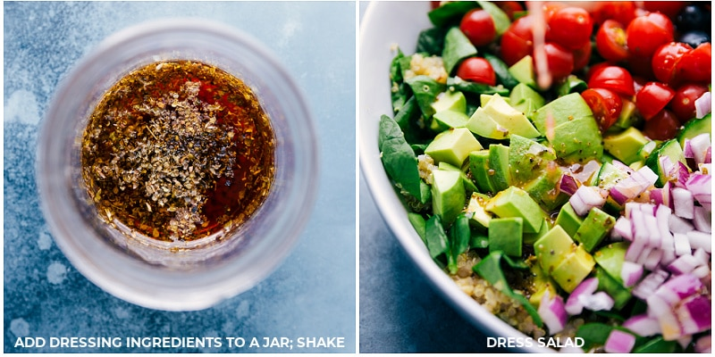 Process shots-- making the dressing; pouring it over the salad.