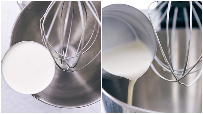 Image of the heavy whipping cream being added to the chilled stand mixer to make whipped cream.