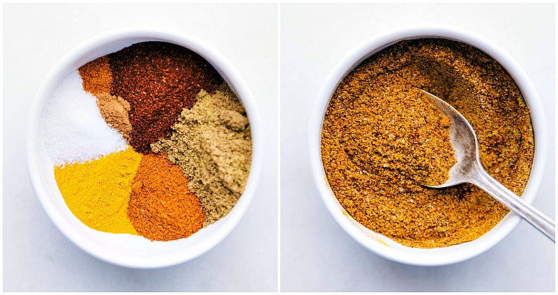 Overhead image of the spices used in this Moroccan Carrot Salad.