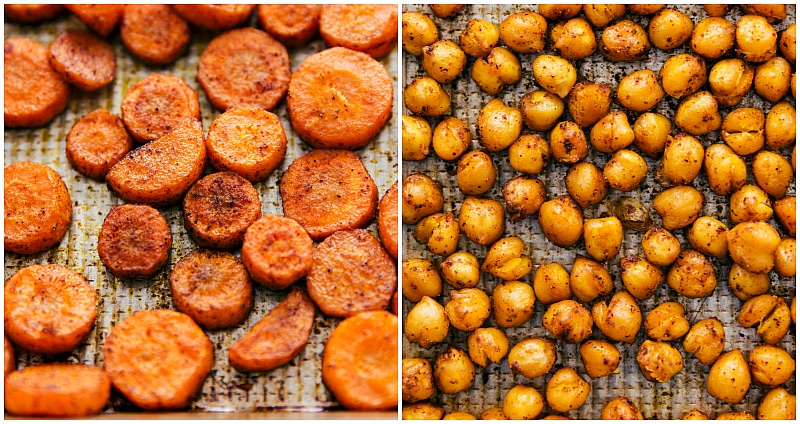 Overhead image of the roasted carrots and chickpeas for this Moroccan Carrot Salad.
