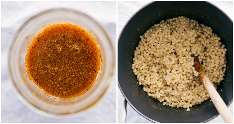 Overhead image of the dressing and couscous used in this Moroccan Carrot Salad.