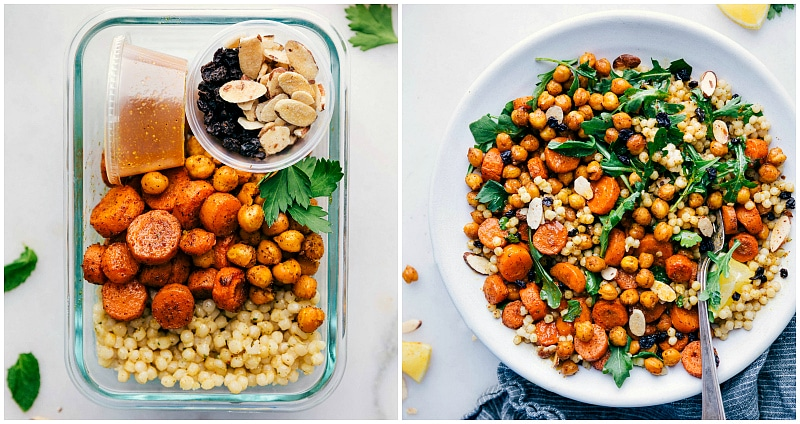 Overhead image of the ready-to-eat Moroccan Carrot Salad in meal prep form and salad form.