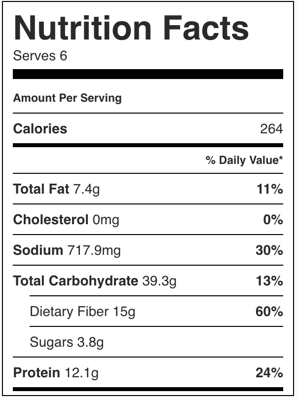 Nutrition facts for vegetarian chili.