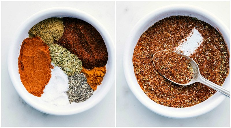 Overhead images of the seasoning mix compartmentalized and then mixed together