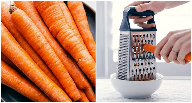 Images of whole carrots and the carrots being grated for this healthy Turkey Meatloaf.