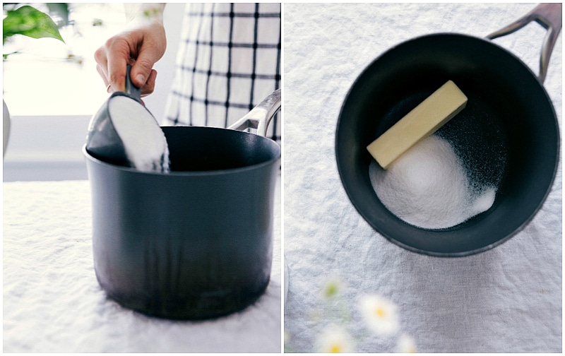 Process shot-- image of the sugar and butter being added to a sauce pan